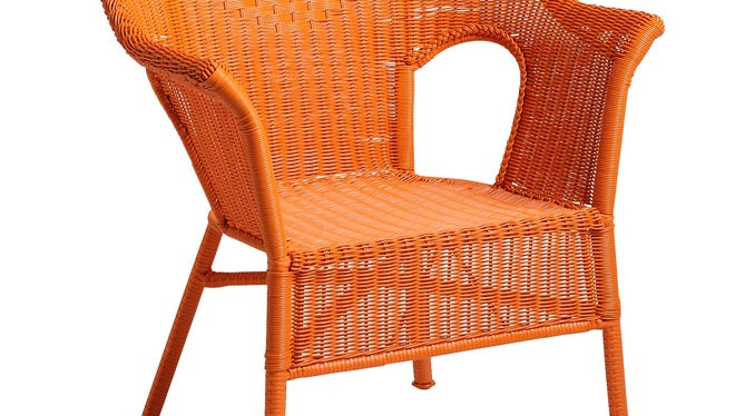Pier 1 Imports carries a Casbah chair in weather-resistant rattan that comes in a variety of bright hues like orange, yellow and purple.