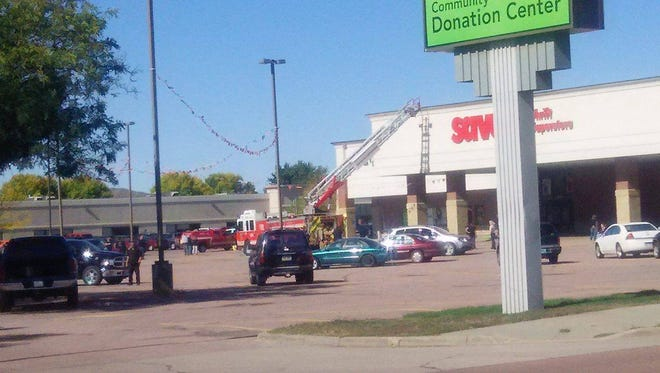 Sioux Falls Fire Rescue responds to a fire at Savers on Wednesday afternoon.