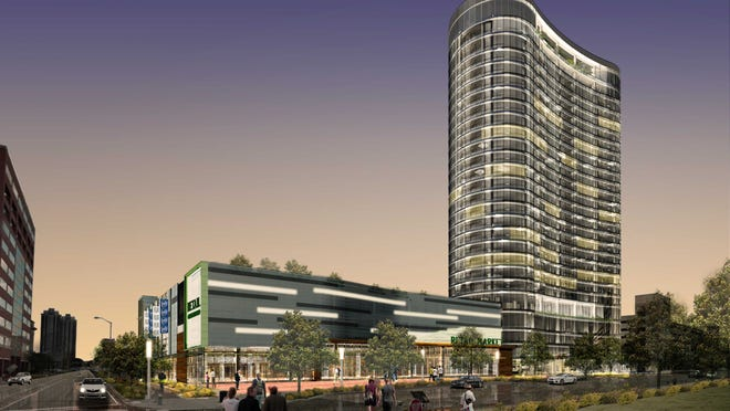 A rendering of the 28-story, $121 million, mixed-use 360 Market Square luxury apartment tower with a Whole Foods Market.