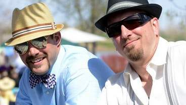 Charlie Pappas, left, and Dave Brewer enjoy the afternoon on Saturday, May 4, 2013, during the fourth annual Down & Derby Party, a celebration of the 139th Kentucky Derby and a fundraiser for charities serving underprivileged youth in Northern Colorado.