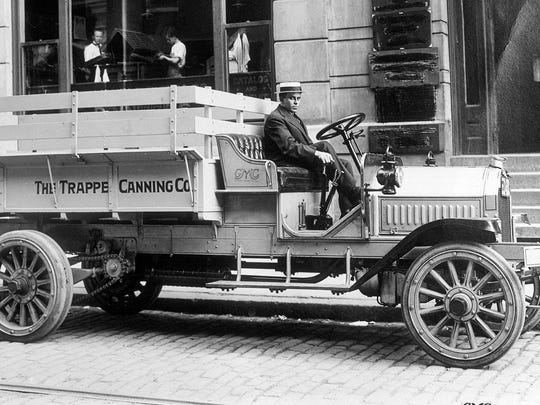"1910s: The GMC name takes its place on a truck grille for the first time in 1912 and the mix of trucks offered had either upright front ends or curved, ""French"" fronts. In the picture: 1913 GMC 2 ton pickup truck."