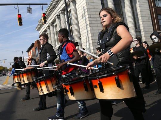 The Mansfield Senior High School band participates