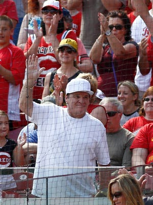Former Reds great Pete Rose is acknowledged by the crowd during a game at Great American Ball Park on Sept. 28.