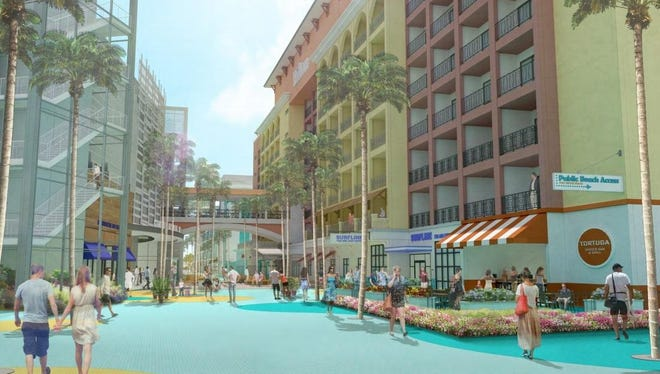 A conceptual rendering shows the half-mile esplanade of retail shops and restaurants proposed to flank four hotels proposed by Fort Myers Beach developer Torgerson Properties.