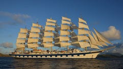 The 227-passenger Royal Clipper, operated by sailing