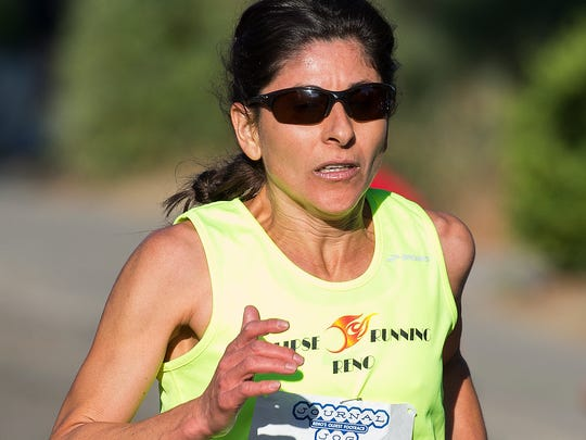 Ramona Sanchez won the women's division of the 49th Annual Journal Jog in Reno, on Sunday.