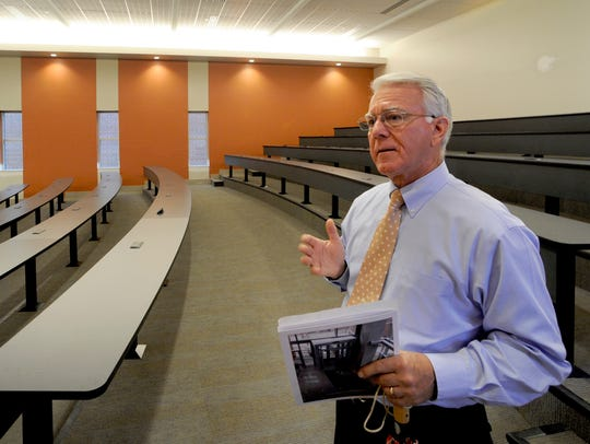 Dean Wayne Davis shows off the largest classroom in