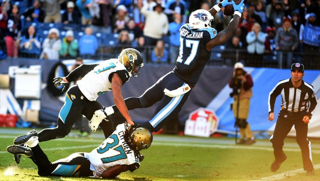Titans wide receiver Dorial Green-Beckman dives into the end zone to score during the fourth quarter against the Jaguars.