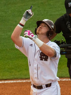 Mississippi State's Gavin Collins (8) celebrates his fourth inning solo home run against Alabama in the Southeastern Conference tournament in Hoover, Ala., on Wednesday.