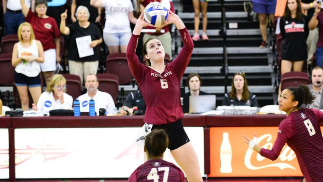 Florida State junior Brianne Burkert rises for a set during the Seminoles 3-1 victory over TCU on Sunday afternoon at Tully Gym.