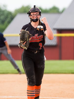 Central York's Courtney Coppersmith pumps her fist after recording the final out against Kennard-Dale during last season's YAIAA championship game at New Oxford High School.