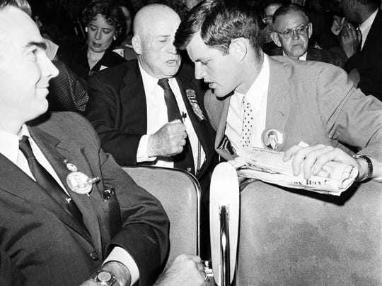 House Speaker Sam Rayburn has a word with Ted Kennedy at the 1960 Democratic convention in L.A.
