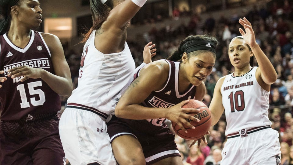 Mississippi State's Victoria Vivians drives to the