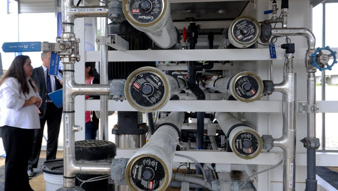 The reverse osmosis area of the Ventura WaterPure Potable Reuse Demonstration Facility. The facility brings attention to the value of potable reuse water as a renewable resource. This provides a cost effective and sustainable amount of high quality water.