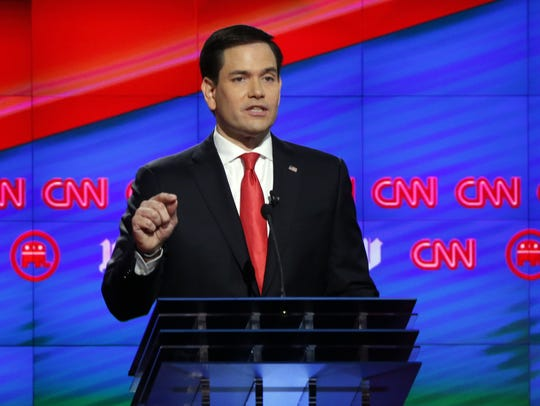 Marco Rubio speaks during the Republican debate at