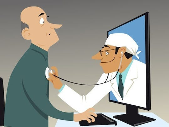 Cartoon illustrates doctor reaching through a monitor to listen to a dude's heart.