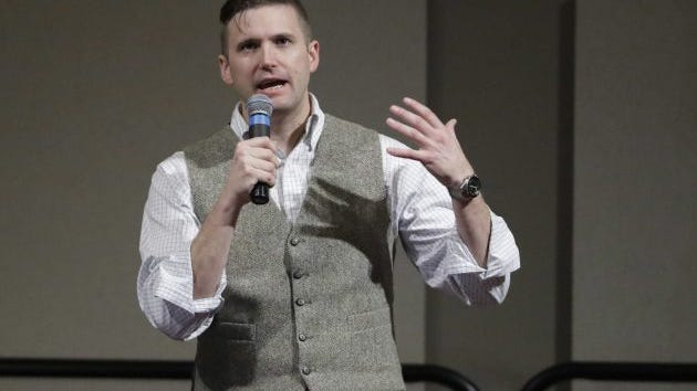 Richard Spencer, who leads a movement that mixes racism, white nationalism and populism, speaks at the Texas A&M University campus Tuesday, Dec. 6, 2016, in College Station, Texas. Texas A&M officials say they didn't schedule the speech by Spencer, who was invited to speak by a former student who reserved campus space available to the public.