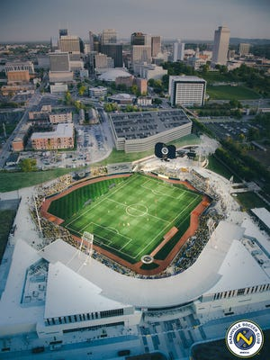 An aerial view of Nashville Soccer Club's plans for First Tennessee Park, where the team will play its inaugural season's home games in 2018.