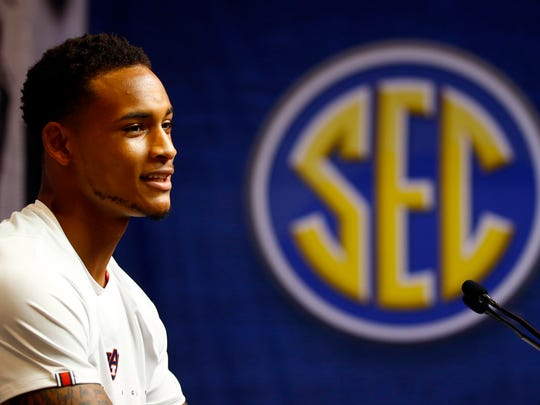 Auburn player Bryce Brown speaks during the SEC men's NCAA college basketball media day, Wednesday, Oct. 17, 2018, in Birmingham, Ala. (AP Photo/Butch Dill)