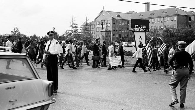 The Selma to Montgomery marchers arrive at the City of St. Jude in Montgomery on March 24, 1965.
