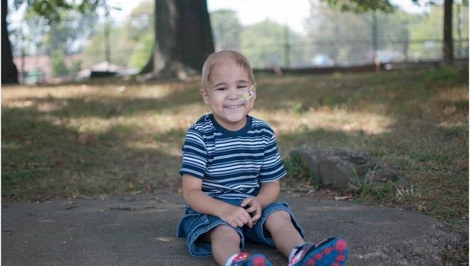 Ryu Okumura-Haas, 5, was diagnosed with retinoblastoma two years ago. This photo was taken at a Little Ferry park in August.