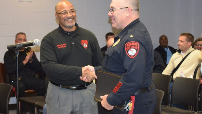 Mount Holly Police Department Chief Thomas F. Mastrangelo (right) introduced the department's new chaplain, Pastor Timothy L. Hutton, Sr. (left) of the Second Baptist Church in Mount Holly.