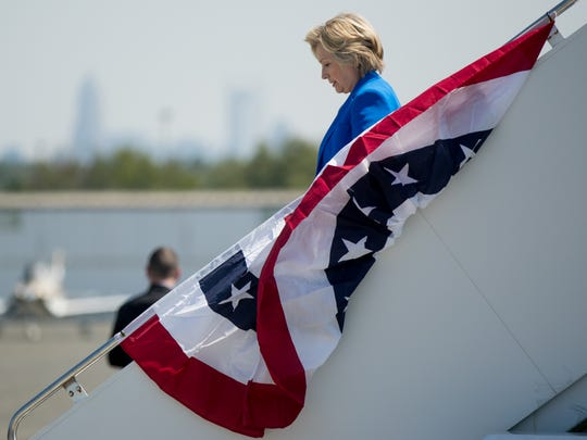 Democratic presidential candidate Hillary Clinton arrives in Charlotte, N.C., Thursday for a campaign rally.