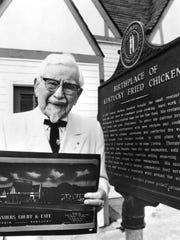 Colonel Sanders at the Corbin restaurant on the occasion of his 80th birthday. Sept. 9, 1970 C-J file photo/Edelman Public Relations