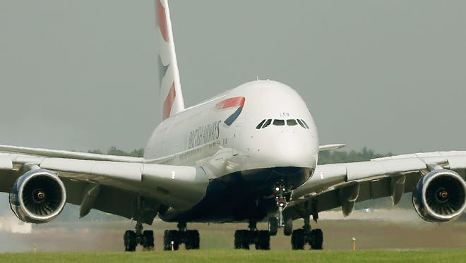A British Airways Airbus A380 lands at Washington Dulles International Airport on Oct. 2, 2014.