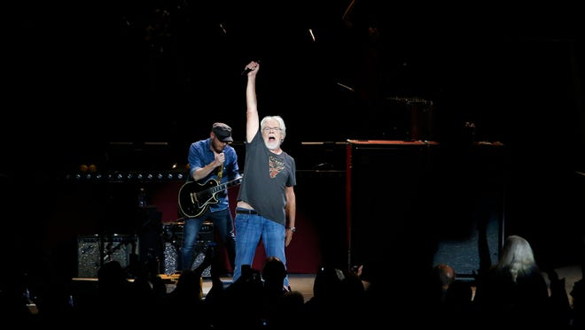 """Bob Seger & the Silver Bullet Band perform """"Roll Me Away"""" on Sept. 9, 2017, at DTE Energy Music Theatre. It was his first time performing at the venue in more than 21 years."""