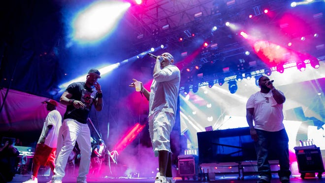 Wu-Tang Clan performs on the main stage of the Movement festival at Detroit's Hart Plaza on May 28, 2018.