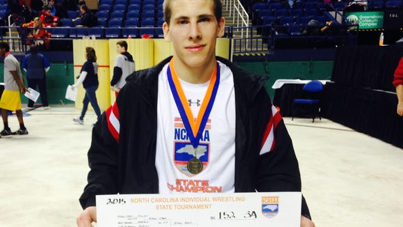 Pisgah senior Dillon O'Neil won his weight class (152 pounds) at the NCHSAA 3-A wrestling tournament in February.