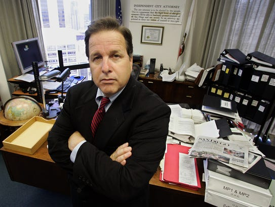 City Attorney Mike Aguirre poses in his office Thursday, July 7, 2005, in San Diego. (AP Photo/Lenny Ignelzi)