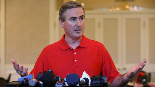 WKU Head Basketball Coach Rick Stansbury spoke during a press conference at the Hunting Creek Country Club.June 27, 2016
