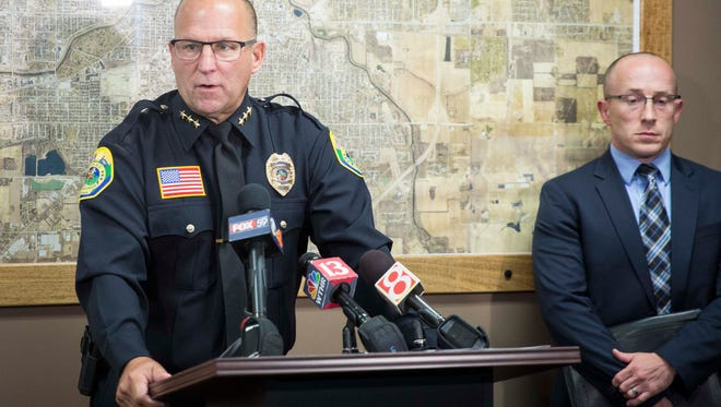 Muncie Police Chief Joe Winkle answers questions at a news conference at City Hall Sept. 15 following the arrest of Delaware County Sheriff Deputy Jerry Parks. Parks was taken into custody  by the Muncie Police Department's narcotics unit late Thursday night.