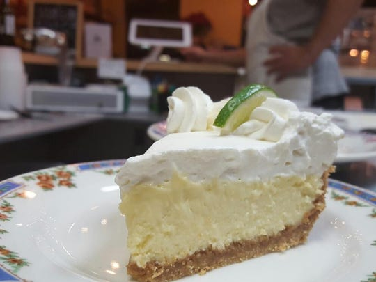 Key Lime Pie is served on vintage dishware at Local