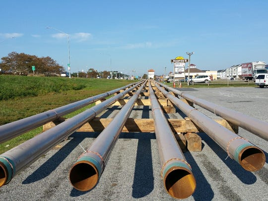 Pipe to transport natural gas into Ocean City before being laid.