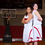 Drury's Sanayika Shields, left, and Amber Dvorak have combined to make a big inside presence for the Lady Panthers and fuel a trip to the national quarterfinals.