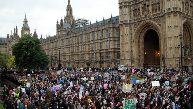 Protesters against the results of the EU referendum in London on June 28, 2016.
