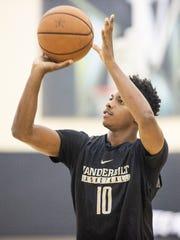 Vanderbilt freshman Darius Garland shoots during summer