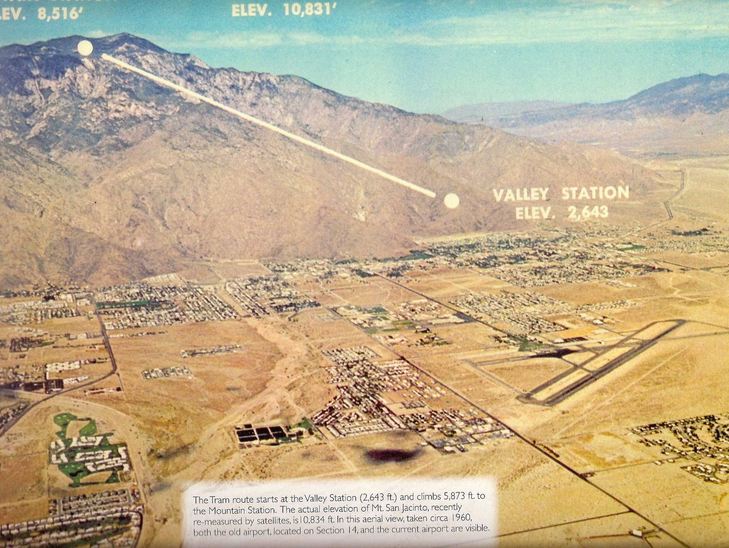 An aerial map of Palm Springs from the 1960s.