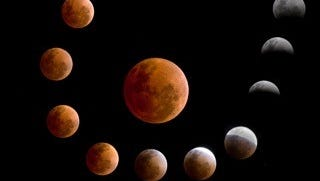 A time-lapse series of a lunar eclipse.