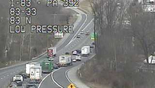 Traffic is backed up on I-83 north March 3 after a crash.