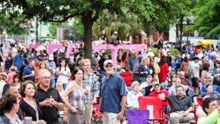 Crowds gather in Parc Sans Souci for Downtown Alive!, which starts its Fall 2016 season Friday.