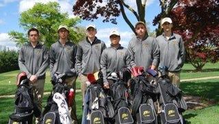 River Dell golf: (from left) Jarred Dunn, Alex Miller, Dylan Vanderbeck, Greg Mun, Griffin Dunn and Justin Sanchez.