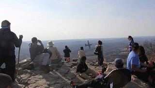 Students and teachers from Overton High atop Pinnacle Mountain in Arkansas in December 2017.