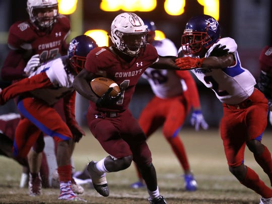 Derrick Staten ran for 204 yards and touchdowns of 64, 12 and 27 yards in Madison County's 28-10 win over Pahokee in a Class 1A state semifinal.