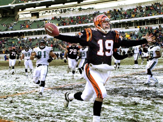 Scott Mitchell celebrates as he runs into the end zone to tie the game for the Bengals late in the fourth quarter against the Jacksonville Jagaurs at Paul Brown Stadium Sunday on December, 17th, 2000.
