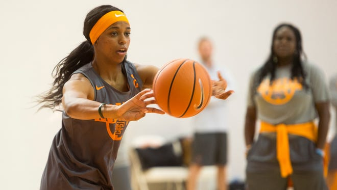 Lady Vols guard Evina Westbrook (2) passes the ball off to a teammate during Tennessee's first official preseason practice Tuesday, Oct. 3, 2017, at Pratt Pavilion.