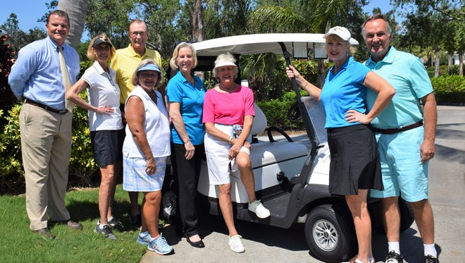 Orchid Island Golf and Beach Club Director of Golf Rich Waage, left, Golf Committee Co-Chairs Anne and Chuck Erickson; Committee Members Vikki Lacatena, Executive Director Diane Ludwig, Board Member Langie Mannion, and Janet and Michael Inghram. Not pictured: Brenda Brandley and Board Member Pat Marine.